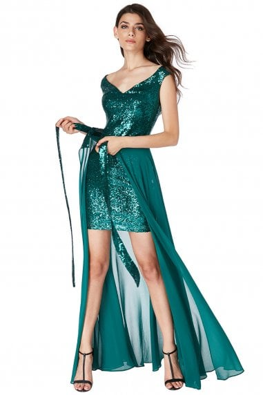 2 In 1 Sequin And Chiffon Dress