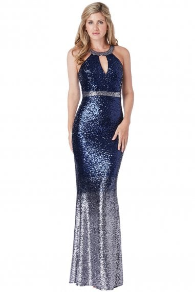 Stephanie Pratt Ombre Halter Neck Sequin Maxi Dress