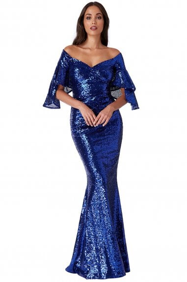 Off The Shoulder Sequin Maxi Dress