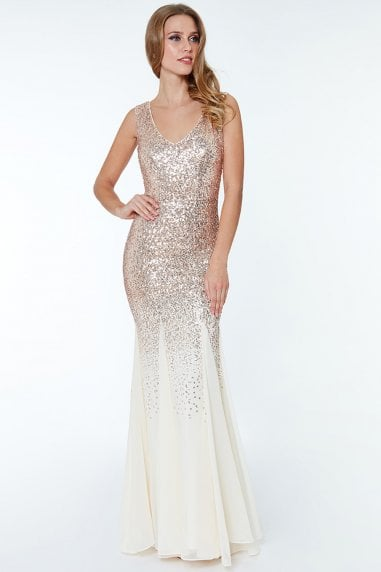 Sequin And Chiffon Maxi Dress