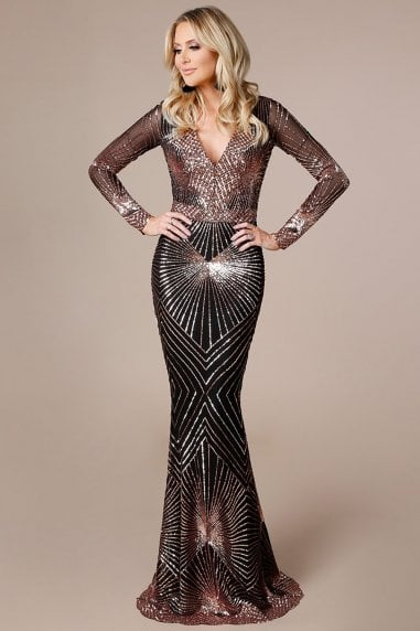 Stephanie Pratt Starburst Sequin Maxi Dress