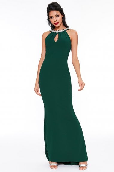 Halter Neck Fishtail Maxi Dress