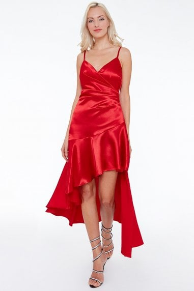 High Low Pleated Satin Midi Dress