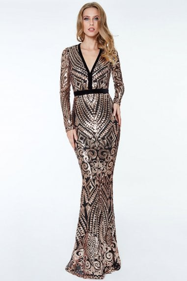 Sequin And Mesh Maxi Dress