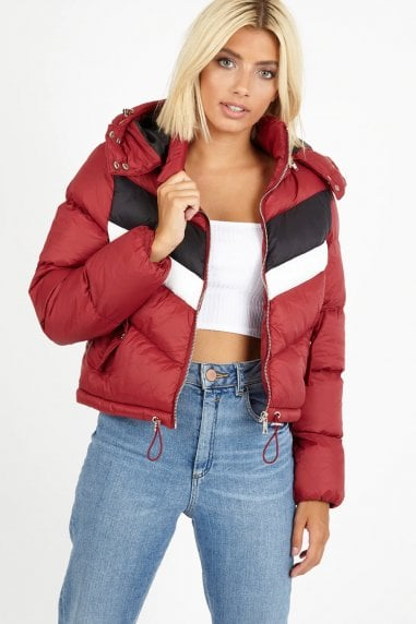 Jaden Red Colour-Block Chevron Puffer Jacket