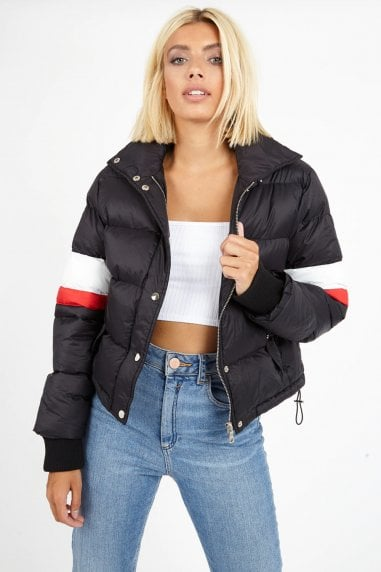 Madden Black Colour-Block Stripe Puffer Jacket