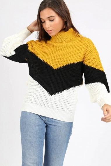 Perry Mustard Colour-Block Chevron Jumper