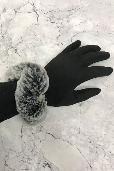 Black Faux-Fur Gloves