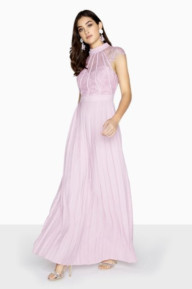 Millie Lilac Lace Pleated Maxi Dress