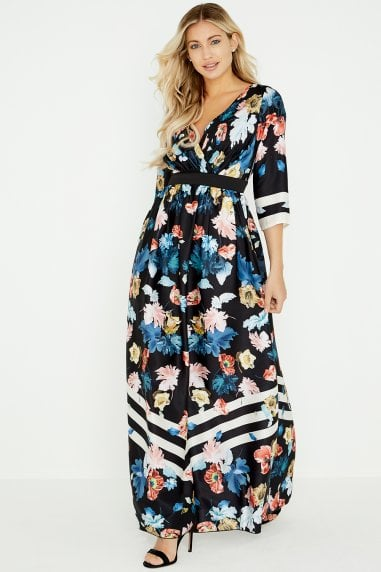 Rossy Floral Stripe Maxi Dress