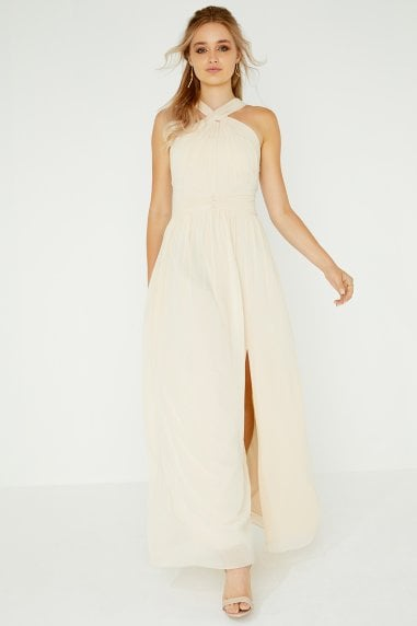 Libby Beige Twist Detail Maxi Dress