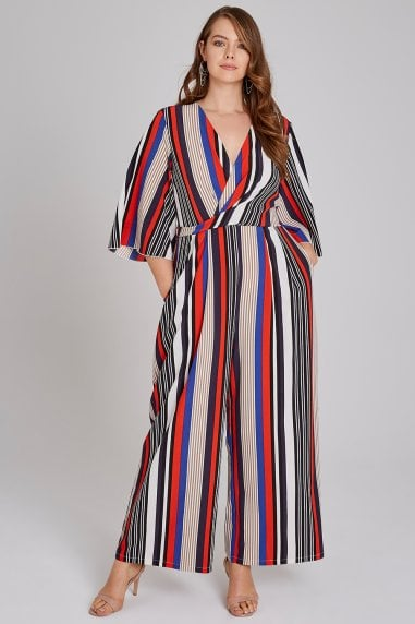 Mickey Mock Wrap Jumpsuit In Stripe
