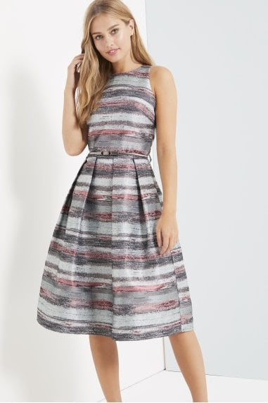 Jacquard Stripe Midi Dress