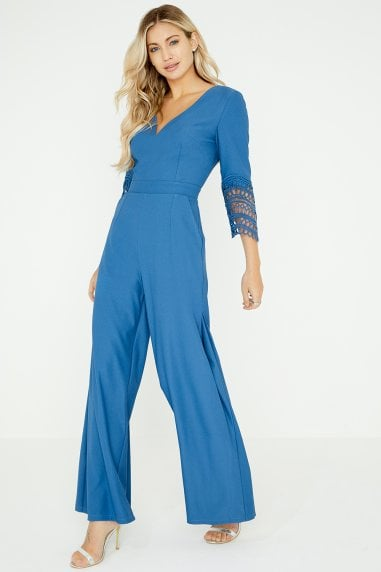 Dahlia Blue Crochet Lace Jumpsuit