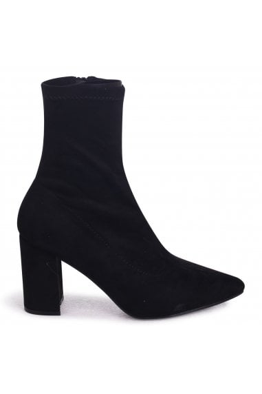 Lucile Black Suede Heeled Ankle Boot With Pointed Toe