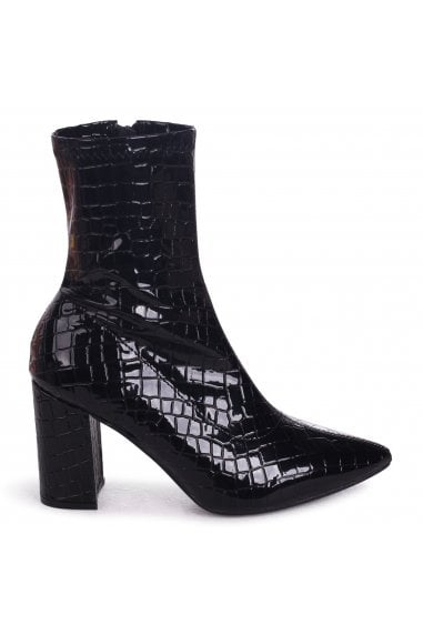 Lucile Black Croc Patent Heeled Ankle Boot With Pointed Toe