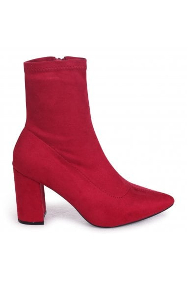 Lucile Red Suede Heeled Ankle Boot With Pointed Toe