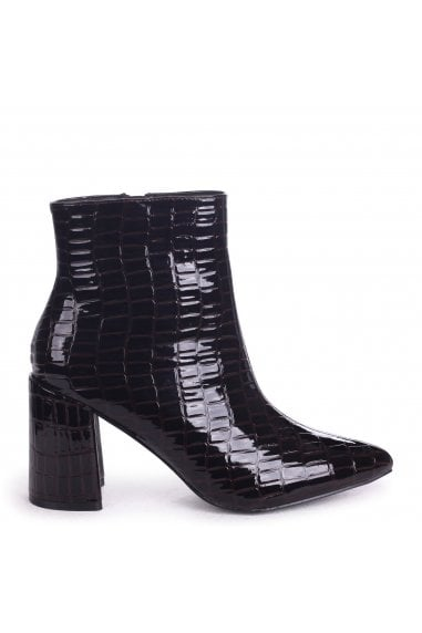 Alice Brown Croc Patent Block Heeled Boot With Pointed Toe