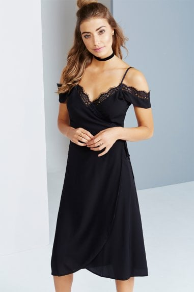 Black Off The Shoulder Dress With Lace