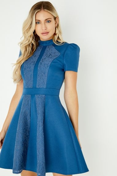 Margot Blue Lace Panel Skater Dress