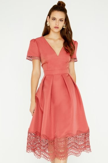 Gaby Terracotta Crochet Lace Midi Dress