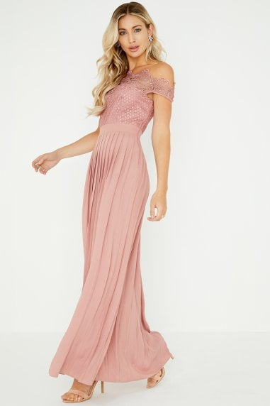 39465f10ca11 Gaby Apricot Lace Bardot Maxi Dress