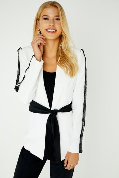 Chapman White Lace Trim Blazer