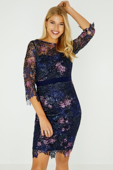 Santa Navy Floral Lace Dress