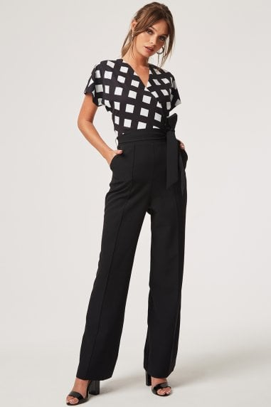 Castro Black Wrap Check Jumpsuit