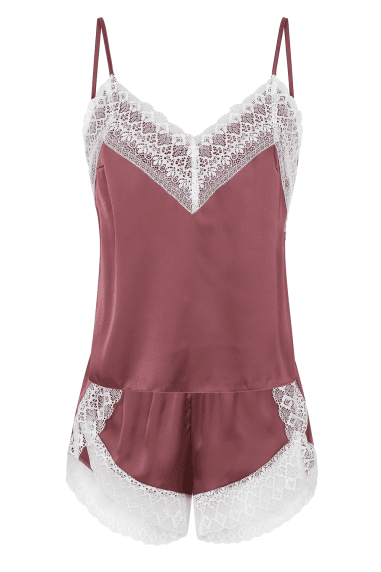 Lust Pink Satin And Lace Pyjama Set