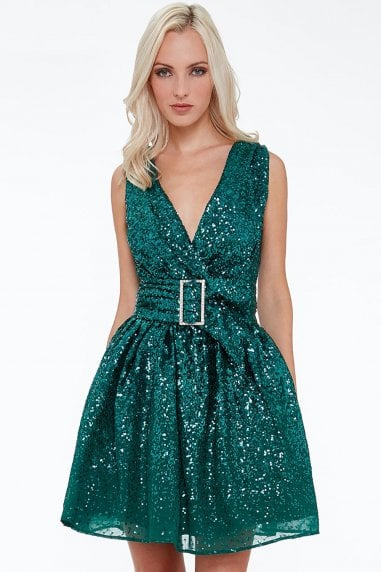Sequin and Chiffon Belted Skater Dress