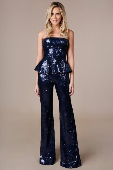 Stephanie Pratt Sequin Peplum Jumpsuit