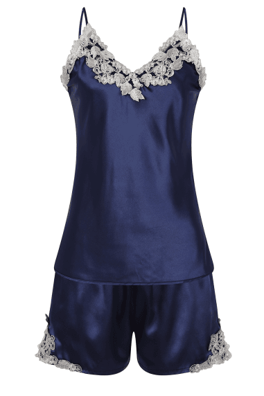 Liaison Navy Satin And Lace Pyjama Set