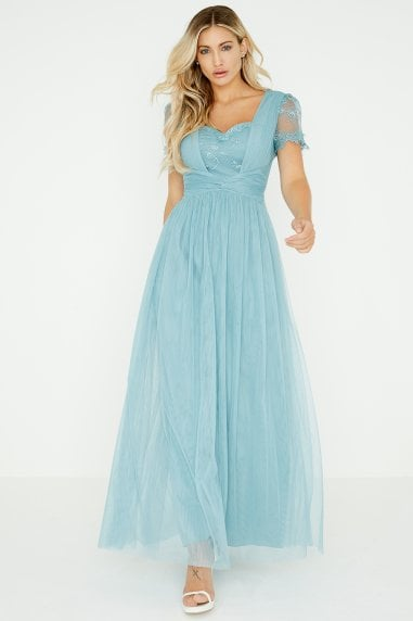 Clarita Blue Lace Mesh Maxi Dress