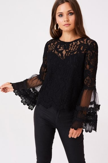 Levine Black Fluted Sleeve Top