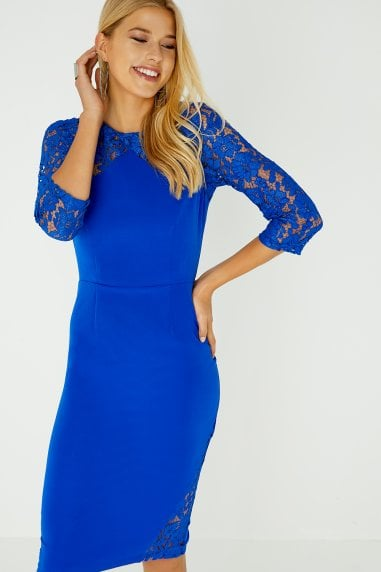 Hart Cobalt Lace Insert Dress