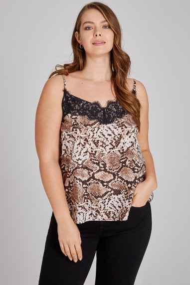 Leopard Cami With Lace Trim