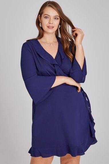 Navy Frill Wrap Mini Dress