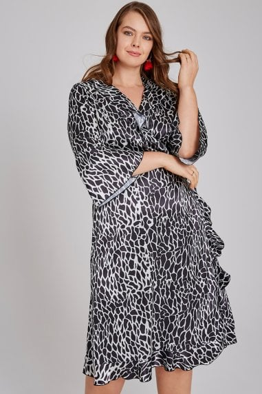 Giraffe Frill Wrap Midi Dress