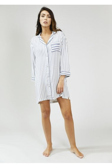 Grey And Ecru Stripe Nightshirt