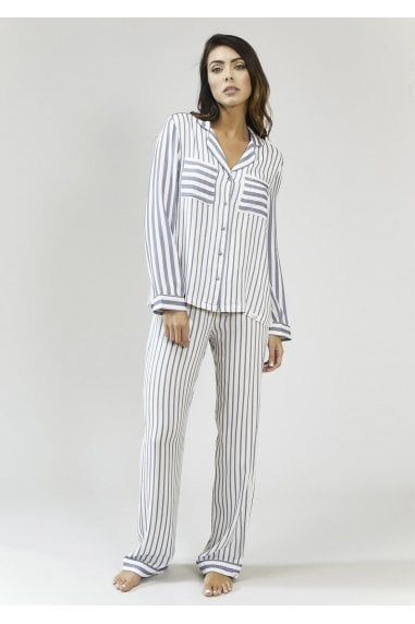 Grey And Ecru Stripe Pyjama Set