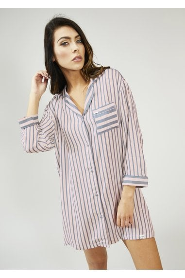 Pink And Grey Stripe Nightshirt