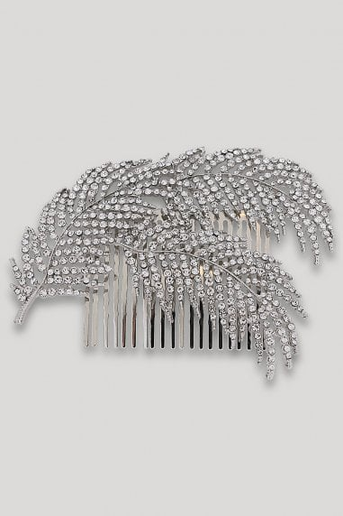 Silver Diamanté Feather Hair Slide