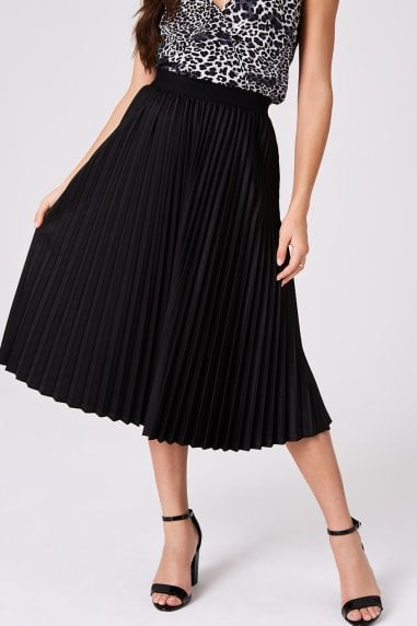 Black Satin Pleat Skirt