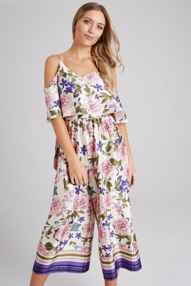 26cce7273e Bennett Floral-Print Cold-Shoulder Culotte Jumpsuit · Girls on Film ...