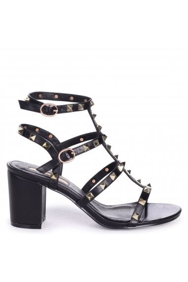 Tessa Black Studded Block Heeled Sandals
