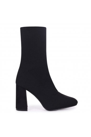 Davida Black Sock Heeled Ankle Boots