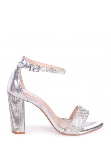 Kesha Silver Metallic Block Heels With Diamante Detail