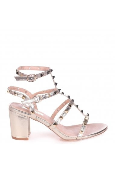 Tessa Gold Studded Block Heeled Sandals