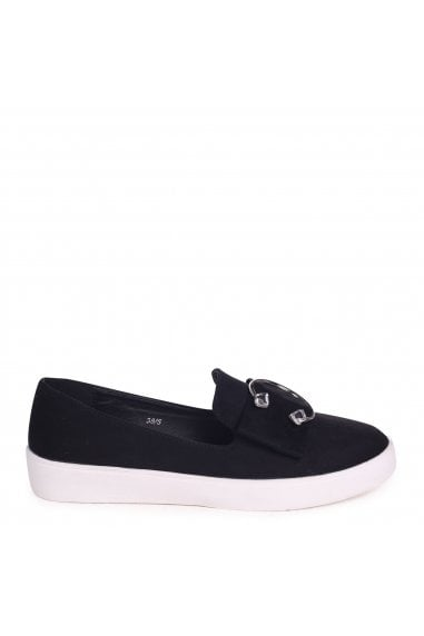 Melina Black Suede Slip On Skater With Horseshoe Bar And Stone Detail